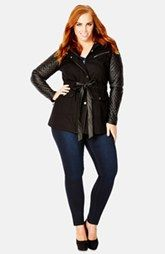 City Chic Quilted Sleeve Hooded Utility Jacket (Plus Size)