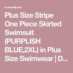 Plus Size Stripe One Piece Skirted Swimsuit (PURPLISH BLUE,2XL) in Plus Size Swimwear | DressLily.com