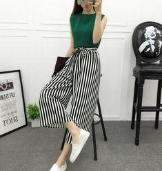 50a27c2b0cc Fashion Summer Wide Leg Pants Women High Waist Plaid Striped Loose Palazzo  Pants Elegant Office Ladies Trousers