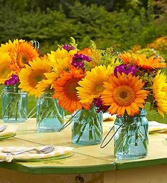 Cute table idea, and the jars can be re-used in the summer with some candles.