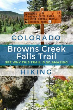 An exhilarating day hike, Browns Creek Falls Trail. Over night backpacking gem. Colorado hikes. Waterfall hikes in Colorado. Popular hikes in Colorado. Colorado family hikes. Horseback trails. Hiking trails, family friendly hike. Hiking near Buena Vista. Mt. Princeton. Thing to do in Salida.