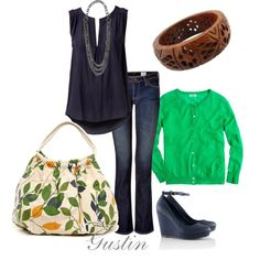 Navy & Green~ I would choose different shoes, maybe ballet flats or flip flops. :)