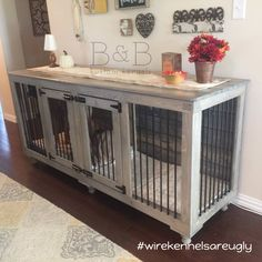 This Grey Double #doggieden fits perfectly in this room! PS: Wire kennels are still ugly in 2017. :)