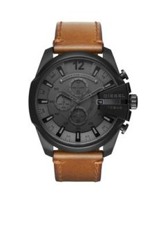 Diesel Men's Mens's Mega Chief Black Ip And Brown Leather Chronograph Watch - Tan - One Size