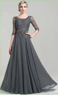 A-Line/Princess Scoop Neck Floor-Length Beading Sequins Zipper Up Sleeves Sleeves No Steel Grey General Plus Chiffon US 2 / UK 6 / EU 32 Mother of the Bride Dress Mother Of The Bride Dresses Long, Mothers Dresses, Mother Bride, Mob Dresses, Fashion Dresses, Bridesmaid Dresses, Linen Dresses, Bridal Dresses, Pretty Dresses