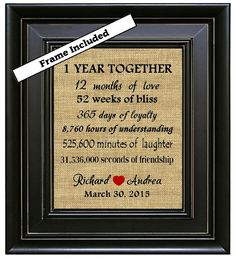 FRAMED 1 Year Together 1st Anniversary Gift 1 year by BurlapNGlass