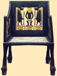 "Child's chair from tomb of Yuya and Tuya in the valley of the Kings ""this chair, showing Bes, (protector of women and children), was probably made for Yuya and Tuya's granddaughter"", Princess Sit-Amun. Reign of Amenhotep III, 1390-1352 BC. Egyptian Museum."