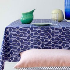 Extra Wide Oilcloth Tablecloth Powder Blue Polka | Coated Tablecloth Linen  | Pinterest | Products, Oilcloth And Blue
