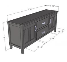 I want to make this!  DIY Furniture Plan from Ana-White.com  My Media Console. Features two cupboards with shelves and two large drawers. Raised design fits over air ducts and create the illusion of more space.