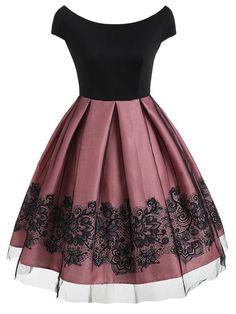Short sleeve vintage dress with mesh - Neue Mode Kleider - Summer Dress Outfits Cute Prom Dresses, Elegant Dresses, Homecoming Dresses, Pretty Dresses, Beautiful Dresses, Casual Dresses, Short Dresses, Sexy Dresses, Summer Dresses