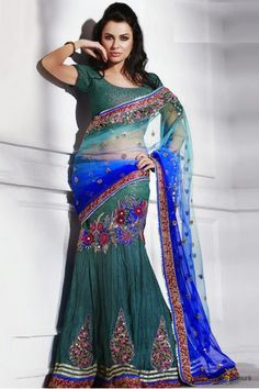 Net and Brocade Lehenga Saree In Blue and Green Colour