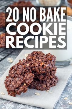 If you're looking for easy desserts you can make in a pinch for an after dinner treat, these no bake recipes will not disappoint! Coconut Flour Desserts, No Bake Desserts, Easy Desserts, Dessert Recipes, Cookies For Kids, No Bake Cookies, Cookies Et Biscuits, Chip Cookies, Healthy Treats For Kids