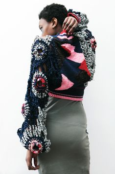 Jacob Patterson BA Fashion Textiles (London College of Fashion) collaboration with Nelly Rose Stewart & Georgia Clark - crochet and intarsia knit cardigan Knitwear Fashion, Crochet Fashion, Fashion Textiles, Cardigan Fashion, Crochet Cardigan, Knit Crochet, Chunky Crochet, Diy Clothes, Clothes For Women