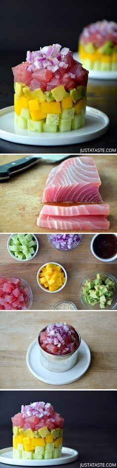 Ahi Tuna Stacks with Ginger-Soy Dressing #recipe #healthy