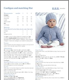 Baby knitted cardigan and hat Baby Cardigan Knitting Pattern Free, Baby Boy Knitting Patterns, Baby Sweater Patterns, Knitted Baby Cardigan, Knit Baby Sweaters, Baby Hats Knitting, Baby Knits, Cardigan Pattern, Knitting Ideas