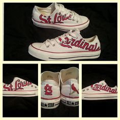 Custom Painting Cardinals Chucks. $110 on etsy http://maddshoes.etsy.com