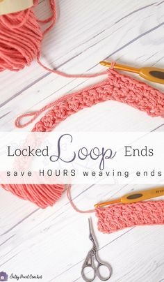 This incredible crochet #yarnhack will save you so much time weaving in ends crochet! No yarn needle required. | Locked Loop Ends Rows • Salty Pearl Crochet | #crochet #crocheting #crochethack