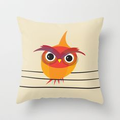 Owl On A Wire Throw Pillow by Volkan Dalyan - $20.00