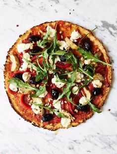 Healthy Mediterranean Cauliflower Pizza. Vegan and Gluten Free Recipes