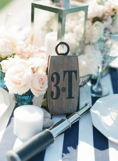 Nautical Themed Wedding ~ Buoy for table numbers