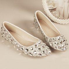 Chaussures crystal strass talon plat sans talons pas cher chaussure de mariée scintillante vente chaussure en ligne