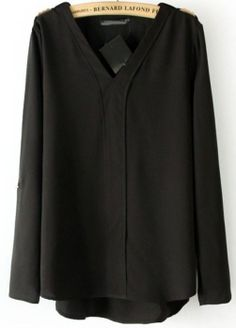 Black V Neck Long Sleeve Rivet Dipped Hem Blouse EUR€14.73