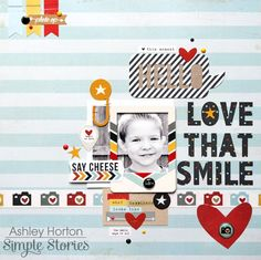 Love That Smile - Scrapbook.com - Made with the soon to be available Simple Stories Say Cheese 2 collection.