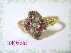 10K Gold ~ Bohemian Garnet Pearl Ring - Stunning Victorian 1880s - Pennsylvania Estate - FREE SHIPPING by FindMeTreasures on Etsy