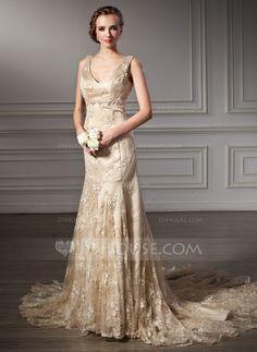 Trumpet/Mermaid V-neck Chapel Train Lace Wedding Dress With Beading (002000116)