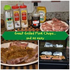 Grilled Pork Chops 4 pork chops 1 TBS yellow mustard 1 TBS minced dried onions 4 cloves garlic, diced 1 tsp pepper 1 tsp garlic salt 1/2 cup soy sauce Mix everything  but pork chops up and pour over meat and let sit for at least 30 mins. and Grill