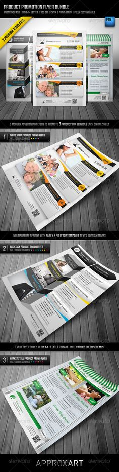 Product Promotion Flyer Bundle Special Features 3 modern advertising flyers to promote 3 products or services each on one sheet Multipurpose designs with easily & fully customizable texts, logos & images Every flyer comes in DIN A4 & Letter format – incl. various color schemes http://startupstacks.com/print-templates/product-promotion-flyer-bundle.html - free download
