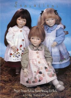 Maggie Iacono article in Oct. 1998 Doll Reader magazine, p. 60. The dolls are Polly, seated in the middle, Rose, with the dark hair, and Savannah, the blonde.