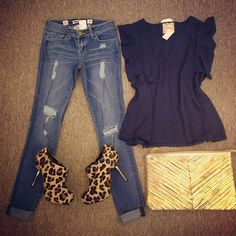 I have a long sleeve top like this and leopard heels.