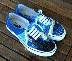 Hand Painted Starry Night Navy Vans Authentic - Custom Vincent Van Gogh Starry Night Vans Sneakers by BStreetShoes