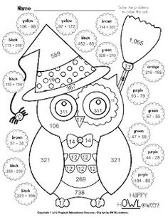 Halloween coloring math worksheets adding and subtracting fractions