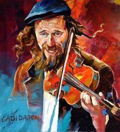Jewish Happy Musician Violinist Contemporary by art4heart2014