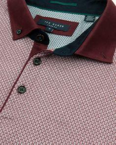 Geo print polo shirt - Dark Red | Tops & T-shirts | Ted Baker UK