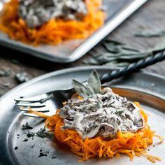 Raw Butternut Squash with White Wine Mushroom and Sage