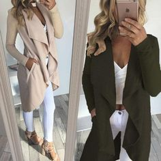 f344a1a4cf04 Fashion Pocket Wrap Coat Waterfall Cardigan
