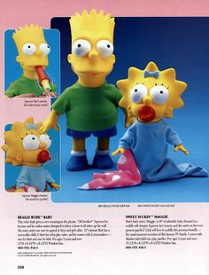 Relics From The 1991 Mattel Catalog Bart and Maggie Simpsons dolls Simpsons Toys, The Simpsons, 1980s Childhood, Childhood Memories, Toys For Girls, Kids Toys, 1990s Toys, Toy Catalogs, Popular Toys
