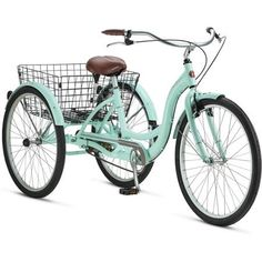 """Bicycle power baby! - 26"""" Schwinn Meridian Adult Tricycle in Cherry, Blue, Silver, or Mint Green - Walmart.com"""