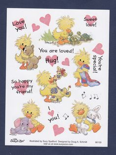 Suzy's Zoo Stickers ~ Witzy Hugging Everybody - You are Loved! Sweet Love!