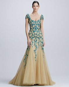 Embroidered Tulle Gown by Monique Lhuillier at Bergdorf Goodman.