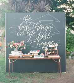 chalkboard calligraphy escort bar