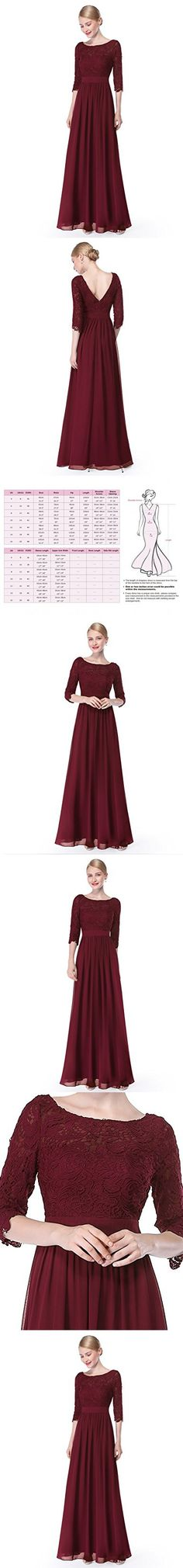 Ever Pretty Womens Three-Quarter Lace Sleeves Floor Length Bridesmaid Dress 16 US Burgandy