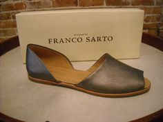 Franco Sarto Venzia Pewter Leather D-Orsay Flats New #FrancoSarto #Slides