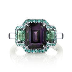 Spinels are about to experience an awakening with their debut as an official birthstone for August.  Come see this new fabulous purple spinel ring with blue/green tourmaline side stones and alexandrite accents at the upcoming JA NY Show - Inner Circle 3336.  #OhmyOMI #omiprive #gemstones #spinel #tourmaline #alexandrite #platinum #cocktailrings