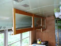 Great info on installing hanging cabinets in galley - Installing face frame. School Bus Tiny House, School Bus Camper, Bus Motorhome, Rv Bus, Bus Remodel, Converted School Bus, Bus Interior, Bus Living, Short Bus