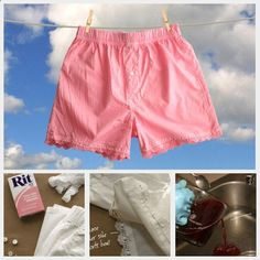 Lace Sleep Shorts DIY - Mens boxer shorts come in all kinds of great patterns if you want to skip the dying step and just add the lace and buttons (plus plain cotton boxer shorts are so much cheaper than womens cute pajama sets)