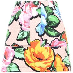 Love Moschino Mini Skirt ($195) ❤ liked on Polyvore featuring skirts, mini skirts, pink, floral skirt, love moschino, pink skirt, short skirts and floral printed skirt